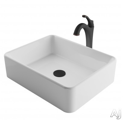 "Kraus Ceramic Series CKCV1211200ORB 19 Inch Rectangular Porcelain Ceramic Vessel Sink and Arloâ""¢ Faucet Combo Set with Ceramic Vessel Sink, Solid Brass Faucet and Easy Clean: Oil Rubbed Bronze Fa"