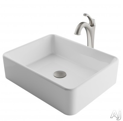 "Kraus Ceramic Series CKCV1211200SFS 19 Inch Rectangular Porcelain Ceramic Vessel Sink and Arloâ""¢ Faucet Combo Set with Ceramic Vessel Sink, Solid Brass Faucet and Easy Clean: Spot Free Brushed Ni"