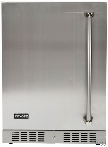 Coyote C1BIR24L 24 Inch Outdoor Compact Refrigerator with 55 cu ft Capacity Stainless Steel Construction Wire Shelves Automatic Defrost Digital Thermostat Interior Lighting and Built in Capability Left Hinge Door Swing