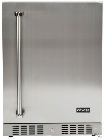 Coyote C1BIR24 24 Inch Outdoor Compact Refrigerator with 55 cu ft Capacity Stainless Steel Construction Wire Shelves Automatic Defrost Digital Thermostat Interior Lighting and Built in Capability
