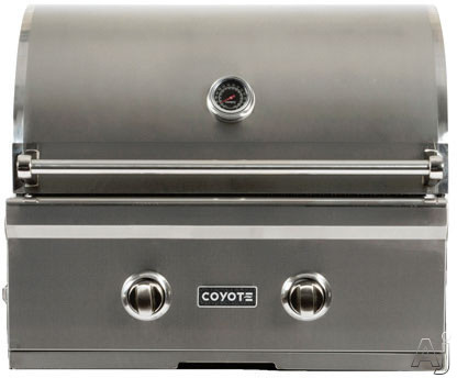 Coyote C-Series C1C28LP 28 Inch Built-in Gas Grill with Infinity Burners, Warming Rack, Heat Control Grids, 40,000 Total BTU, Interior Hood Lights, 640 sq. in. Cooking Area and Stainless Steel Grates: