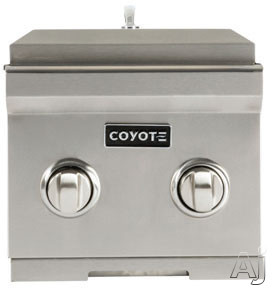 Coyote C1DB 12 Inch Built in Double Side Burner with 2 15 000 BTU Brass Burners Stainless Steel Body and Stainless Steel Lid
