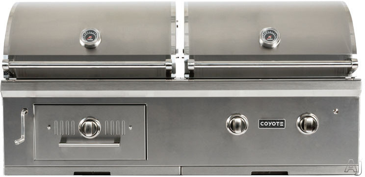 Coyote C1HY50 50 Inch Built-in Charcoal and Gas Grill with 1,200 sq. in. Total Cooking Area, 40,000 Gas BTU, 2 High Performance Infinity Burners, Wood Chip Cooking, Heat Control Grids, Adjustable Air Flow Dampers and Cart Option