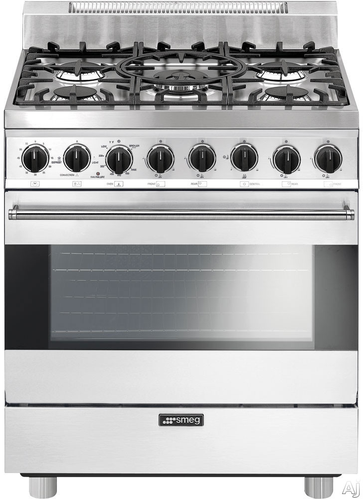 Smeg C30GGBU 30 Inch Freestanding Gas Range with 3.5 cu. ft. Convection Oven, 5 Sealed Burners, Ever-Clean Enameled Oven Interior, Broil Mode, Defrost Mode, Kitchen Timer and Electronic Ignition: Whit