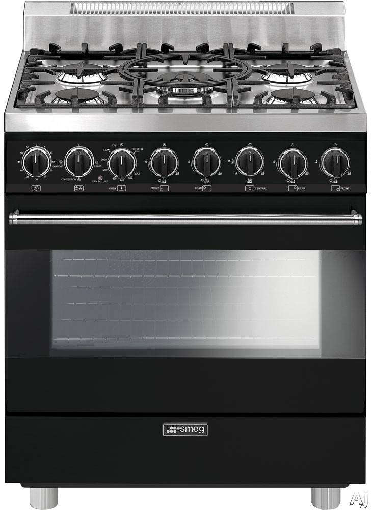 Smeg C30GGNU 30 Inch Freestanding Gas Range with 3.5 cu. ft. Convection Oven, 5 Sealed Burners, Ever-Clean Enameled Oven Interior, Broil Mode, Defrost Mode, Kitchen Timer and Electronic Ignition: Blac