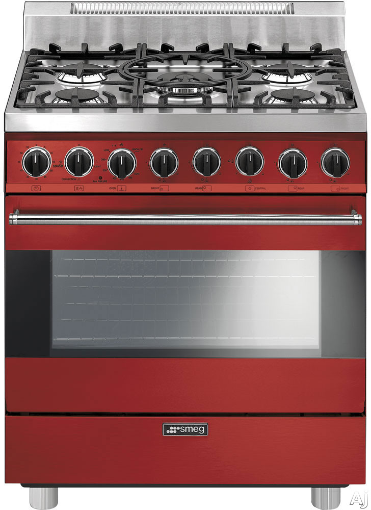 Smeg C30GGRU 30 Inch Freestanding Gas Range with 3.5 cu. ft. Convection Oven, 5 Sealed Burners, Ever-Clean Enameled Oven Interior, Broil Mode, Defrost Mode, Kitchen Timer and Electronic Ignition: Red