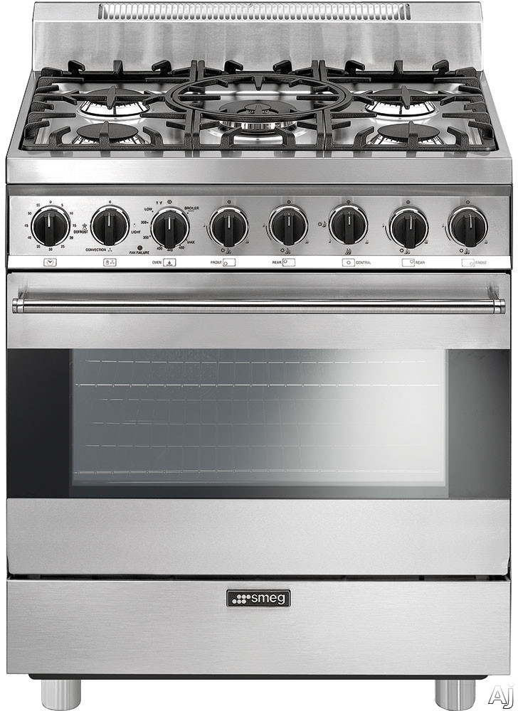Smeg C30GGXU1 30 Inch Freestanding Gas Range with 3.5 cu. ft. Convection Oven, 5 Sealed Burners, Ever-Clean Enameled Oven Interior, Broil Mode, Defrost Mode, Kitchen Timer and Electronic Ignition: Sta