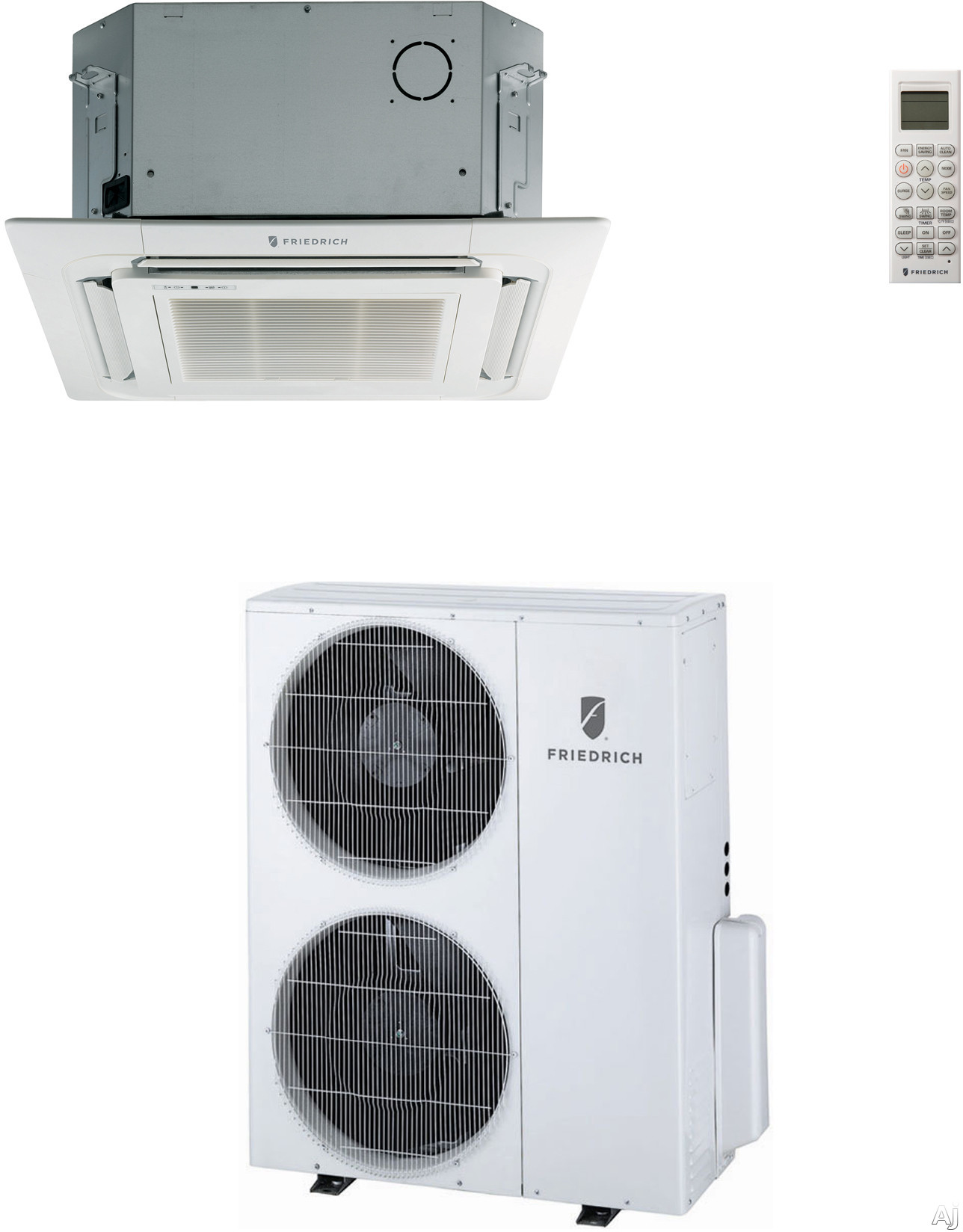 Friedrich C36YJ 36 000 BTU Single Zone Ceiling Cassette Ductless Split System with 40 000 BTU Heat Pump 13.5 EER 19.0 SEER and R410A Refrigerant MC36Y3J Indoor MR36UY3J Outdoor