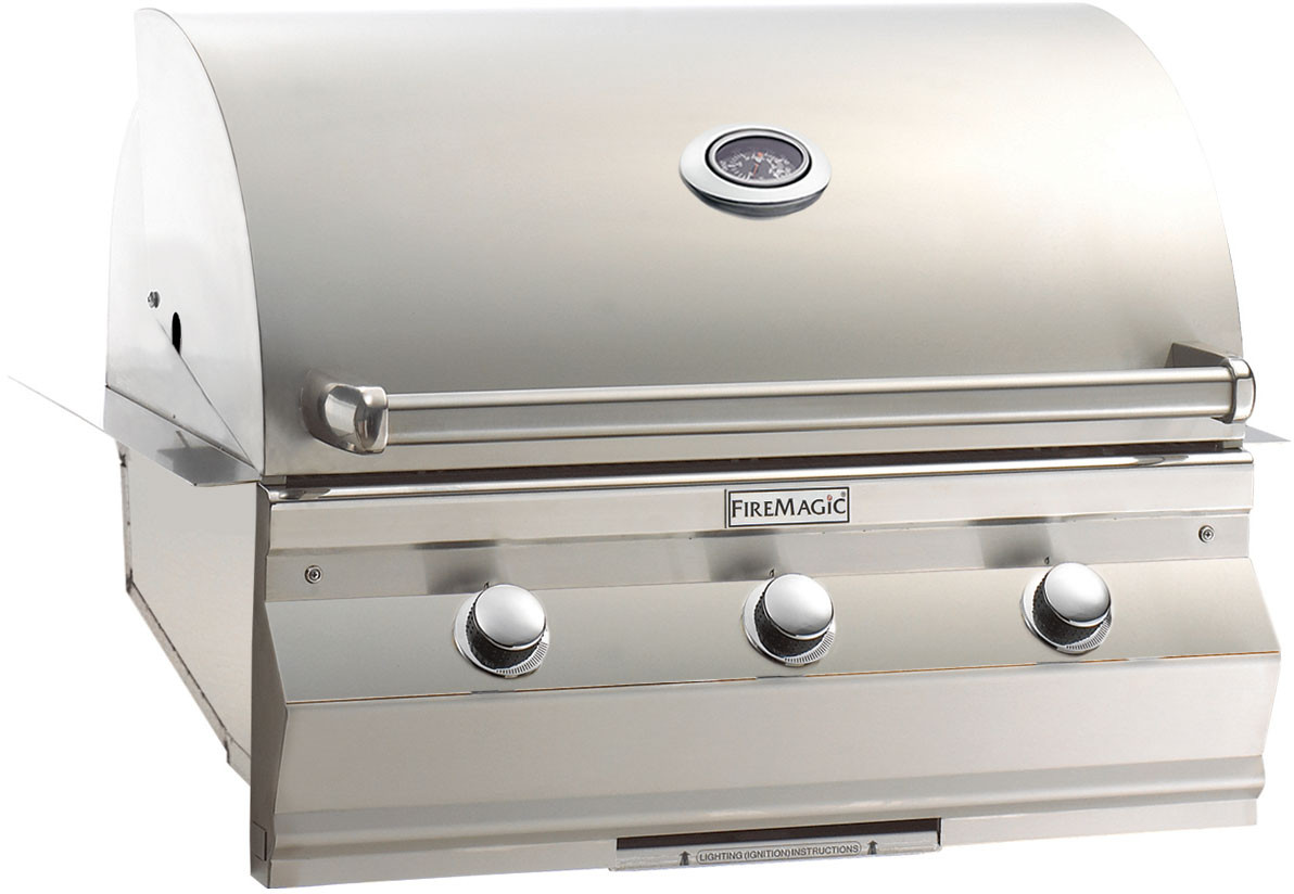 Fire Magic C540I1T1N 36 Inch Built-in Gas Grill with 540 sq. in. Cooking Surface, 60,000 BTU Stainless Steel Burners, 16-Gauge Stainless Steel Flavor Grids and Analog Thermometer: Natural Gas