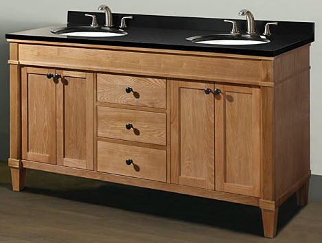 Empire Industries CA60C 60 Inch Contemporary Vanity for Two Bowl Countertop with Two Two Door Cabinets and Three Drawers in Cappuccino