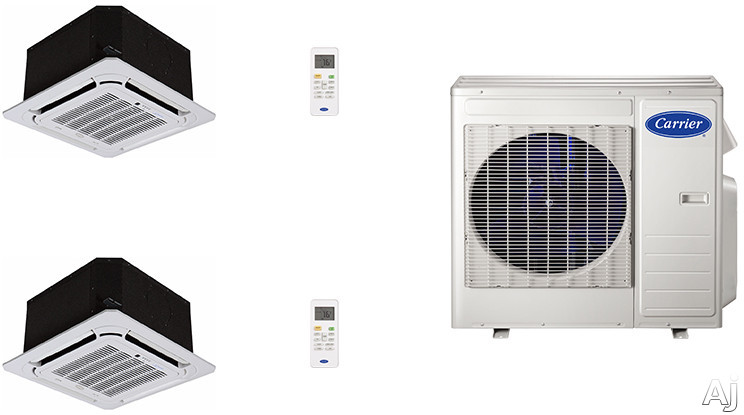 Carrier Performance Series CA18K1 2 Room Mini Split Air Conditioning System with Heat Pump, Inverter Compressor Technology, Basepan Heater and Quiet Operation