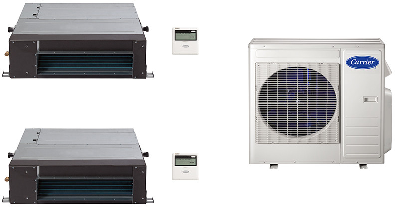 Carrier Performance Series CA18K16 2 Room Mini Split Air Conditioning System with Heat Pump, Inverter Compressor Technology, Basepan Heater and Quiet Operation