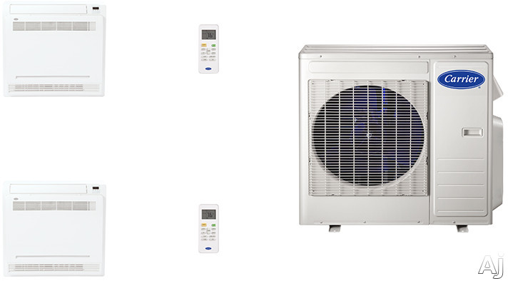 Carrier Performance Series Cafw18k1 2 Room Mini Split Air Conditioning System With Heat Pump, Inverter Compressor Technology, Basepan Heater And Quiet Operation