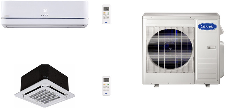 Carrier Performance Series CA18K11 2 Room Mini Split Air Conditioning System with Heat Pump Inverter Compressor Technology Basepan Heater and Quiet Operation
