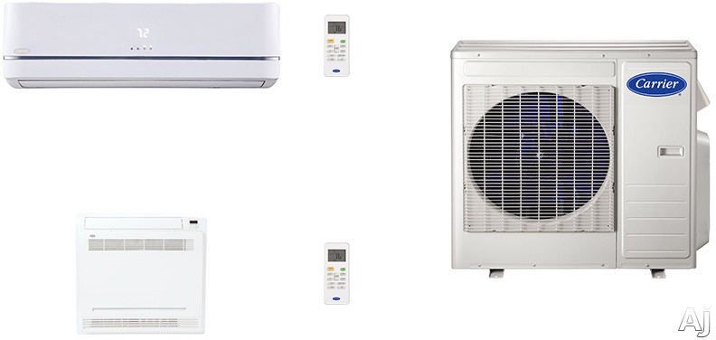 Carrier Performance Series Cafw18k7 2 Room Mini Split Air Conditioning System With Heat Pump, Inverter Compressor Technology, Basepan Heater And Quiet Operation