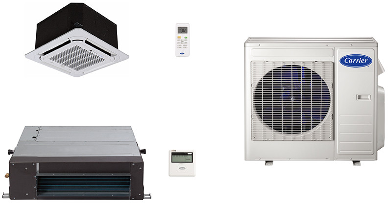 Carrier Performance Series CA27K7 2 Room Mini Split Air Conditioning System with Heat Pump, Inverter Compressor Technology, Basepan Heater and Quiet Operation CA27K7