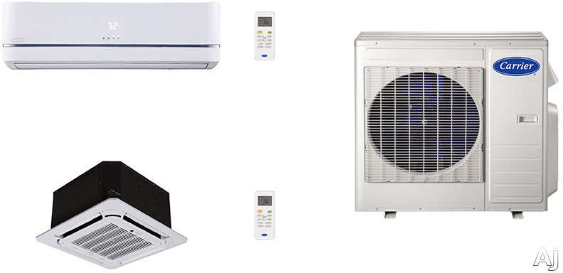 Carrier Performance Series CA27K12 2 Room Mini Split Air Conditioning System with Heat Pump, Inverter Compressor Technology, Basepan Heater and Quiet Operation CA27K12