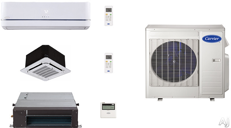 Carrier Performance Series CA27K64 3 Room Mini Split Air Conditioning System with Heat Pump, Inverter Compressor Technology, Basepan Heater and Quiet Operation CA27K64
