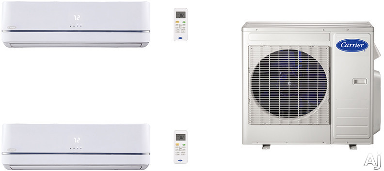 Carrier Performance Series CA27K112 2 Room Mini Split Air Conditioning System with Heat Pump, Inverter Compressor Technology, Basepan Heater and Quiet Operation CA27K112