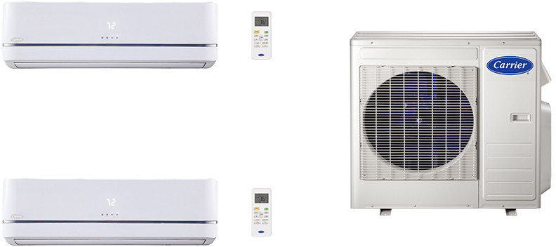 Carrier Performance Series CA27K117 2 Room Mini Split Air Conditioning System with Heat Pump, Inverter Compressor Technology, Basepan Heater and Quiet Operation CA27K117