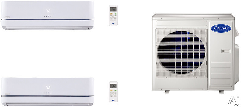 Carrier Performance Series CA27K109 2 Room Mini Split Air Conditioning System with Heat Pump, Inverter Compressor Technology, Basepan Heater and Quiet Operation CA27K109