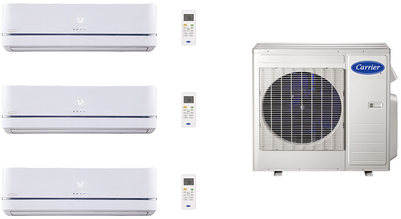 Carrier Performance Series CA27K116 3 Room Mini Split Air Conditioning System with Heat Pump, Inverter Compressor Technology, Basepan Heater and Quiet Operation CA27K116