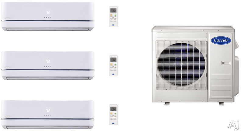 Carrier Performance Series CA27K114 3 Room Mini Split Air Conditioning System with Heat Pump, Inverter Compressor Technology, Basepan Heater and Quiet Operation CA27K114