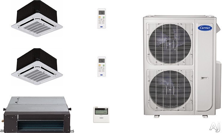 Carrier Performance Series CA36K14 3 Room Mini Split Air Conditioning System with Heat Pump, Inverter Compressor Technology, Basepan Heater and Quiet Operation CA36K14