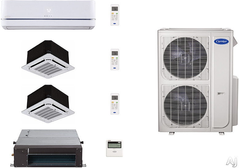 Carrier Performance Series CA36K124 4 Room Mini Split Air Conditioning System with Heat Pump, Inverter Compressor Technology, Basepan Heater and Quiet Operation CA36K124