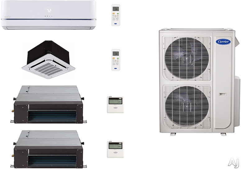 Carrier Performance Series CA36K151 4 Room Mini Split Air Conditioning System with Heat Pump, Inverter Compressor Technology, Basepan Heater and Quiet Operation CA36K151