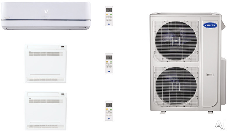 Carrier Performance Series CAFW36K54 3 Room Mini Split Air Conditioning System with Heat Pump, Inverter Compressor Technology, Basepan Heater and Quiet Operation CAFW36K54