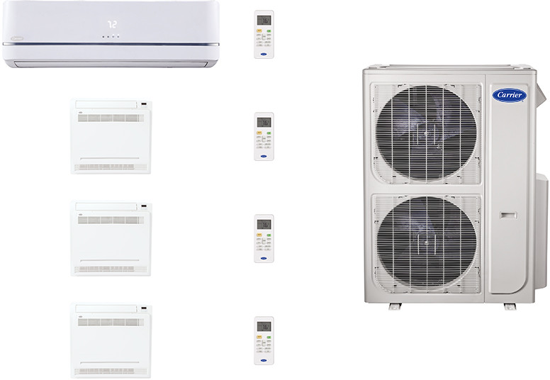 Carrier Performance Series CAFW36K45 4 Room Mini Split Air Conditioning System with Heat Pump, Inverter Compressor Technology, Basepan Heater and Quiet Operation CAFW36K45