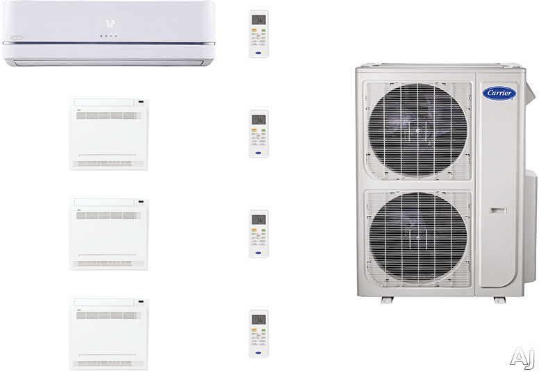 Carrier Performance Series CAFW36K4 4 Room Mini Split Air Conditioning System with Heat Pump, Inverter Compressor Technology, Basepan Heater and Quiet Operation CAFW36K4