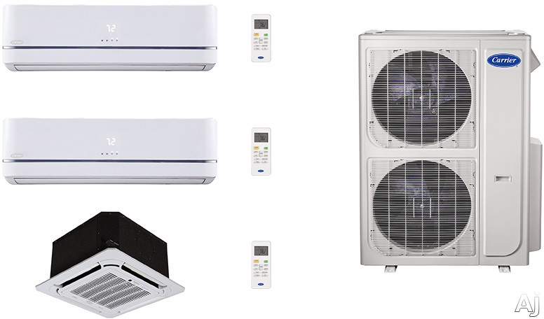 Carrier Performance Series CA36K67 3 Room Mini Split Air Conditioning System with Heat Pump, Inverter Compressor Technology, Basepan Heater and Quiet Operation CA36K67