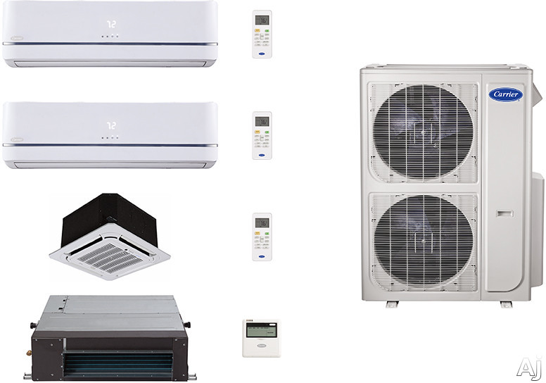 Carrier Performance Series CA36K254 4 Room Mini Split Air Conditioning System with Heat Pump, Inverter Compressor Technology, Basepan Heater and Quiet Operation CA36K254