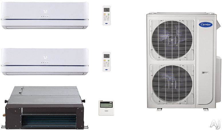 Carrier Performance Series CA36K300 3 Room Mini Split Air Conditioning System with Heat Pump, Inverter Compressor Technology, Basepan Heater and Quiet Operation CA36K300