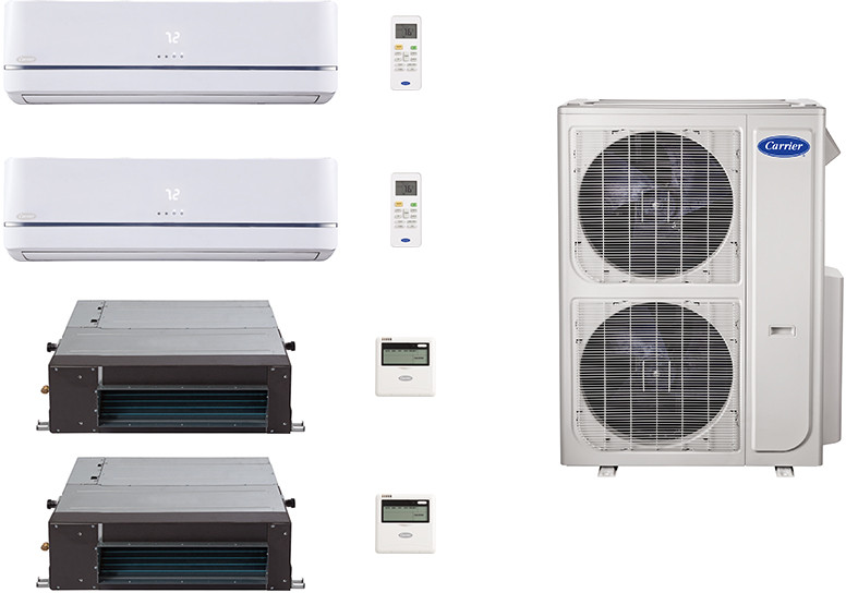 Carrier Performance Series CA36K356 4 Room Mini Split Air Conditioning System with Heat Pump, Inverter Compressor Technology, Basepan Heater and Quiet Operation CA36K356