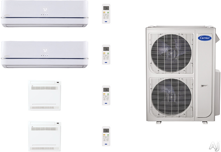 Carrier Performance Series CAFW36K14 4 Room Mini Split Air Conditioning System with Heat Pump, Inverter Compressor Technology, Basepan Heater and Quiet Operation CAFW36K14
