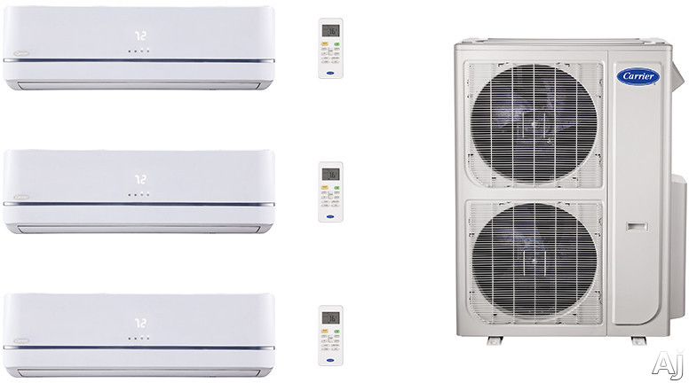 Carrier Performance Series CA36K390 3 Room Mini Split Air Conditioning System with Heat Pump, Inverter Compressor Technology, Basepan Heater and Quiet Operation CA36K390