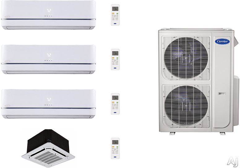 Carrier Performance Series CA36K263 4 Room Mini Split Air Conditioning System with Heat Pump, Inverter Compressor Technology, Basepan Heater and Quiet Operation CA36K263
