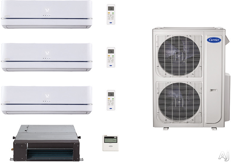 Carrier Performance Series CA36K343 4 Room Mini Split Air Conditioning System with Heat Pump, Inverter Compressor Technology, Basepan Heater and Quiet Operation CA36K343