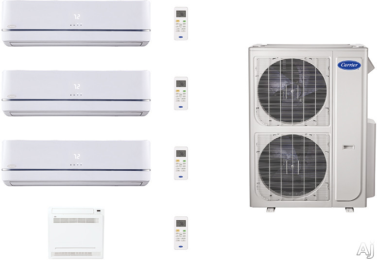 Carrier Performance Series CAFW36K67 3 Room Mini Split Air Conditioning System with Heat Pump, Inverter Compressor Technology, Basepan Heater and Quiet Operation CAFW36K67