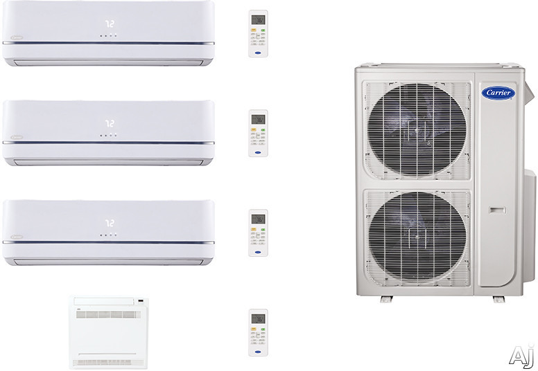 Carrier Performance Series CAFW36K56 4 Room Mini Split Air Conditioning System with Heat Pump, Inverter Compressor Technology, Basepan Heater and Quiet Operation CAFW36K56