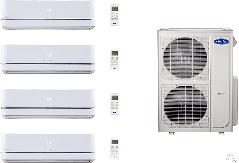 Carrier Performance Series CA36K389 4 Room Mini Split Air Conditioning System with Heat Pump, Inverter Compressor Technology, Basepan Heater and Quiet Operation CA36K389