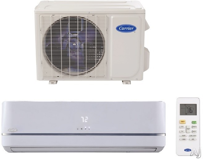 Carrier Performance Series MAQB12B1 12,000 BTU Single Zone High Wall Mini Split with 12,000 BTU Heat Pump, 13 EER, 21.5 SEER, Wireless Remote Control, Variable-Speed Inverter, Base Pan Heater, Turbo Mode, Sleep Mode, Dehumidification Mode, Follow Me and