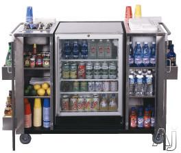 """Summit CARTOSSCRRC 61"""" Serving Cart with 2 Towel Bar Handles, Bottle Opener, Ice Storage and Glass Door Outdoor Refreshment Center"""