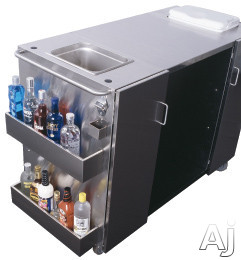Summit CARTOSSPR7 61 Inch Serving Cart with 2 Towel Bar Handles, Bottle Opener, Ice Storage and Outdoor Refrigerator