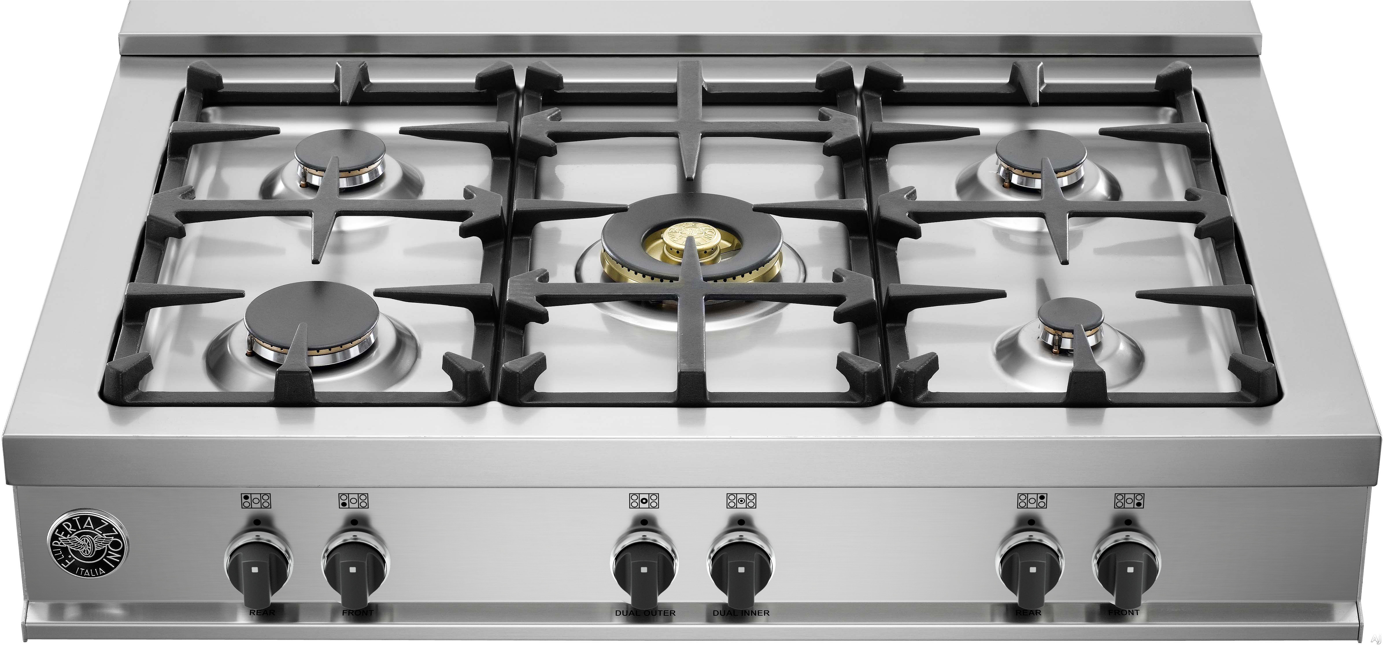 Bertazzoni Master Series CB36M500 36 Inch Gas Rangetop with 5 Sealed Burners, 18,000 BTU Dual-Ring Power Burner, Continuous Cast Iron Grates and Electronic Ignition