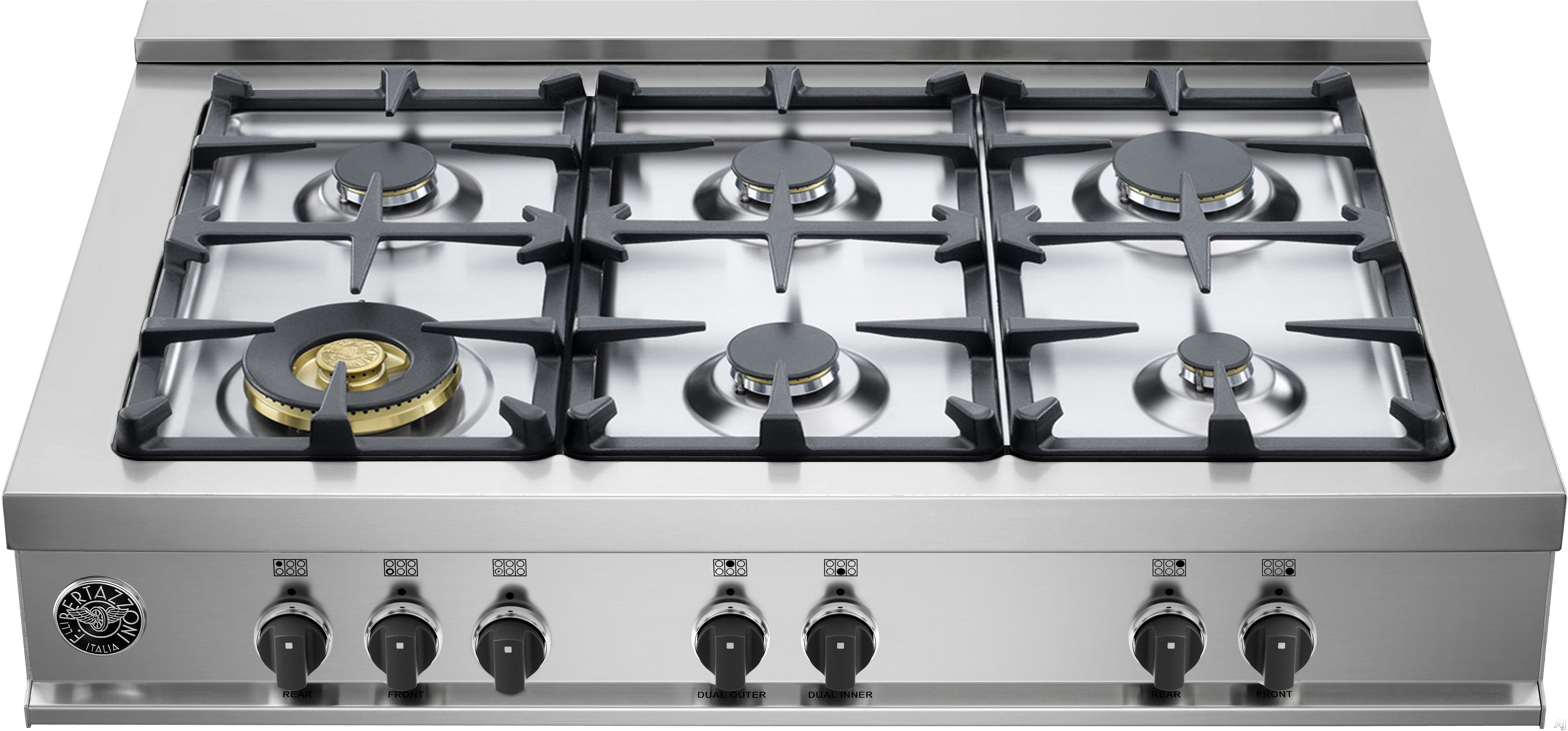 Bertazzoni Master Series CB36M600 36 Inch Gas Rangetop with 6 Sealed Burners, 18,000 BTU Dual-Ring Power Burner, Continuous Cast Iron Grates and Electronic Ignition
