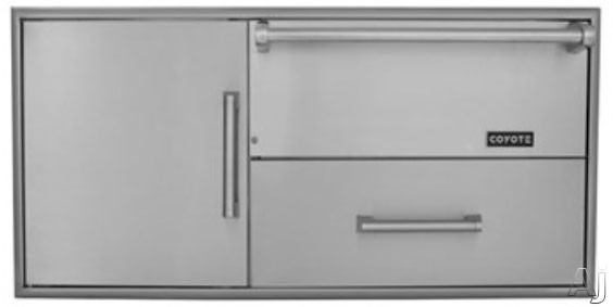 Image of Coyote CCDWD 42 Inch Outdoor Warming Drawer with Internal Electric Heating Element, Pull Out Drawer and Single Storage Door